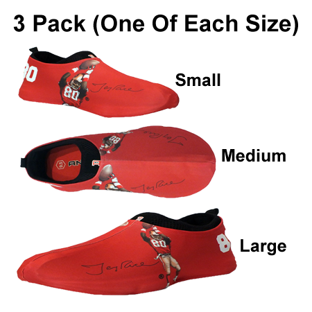 Jerry Rice (49ers) Autographed Sneakerskins Stretch Fit 3 Pack